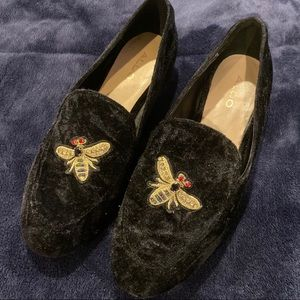 Aldo velvet loafers with bee design